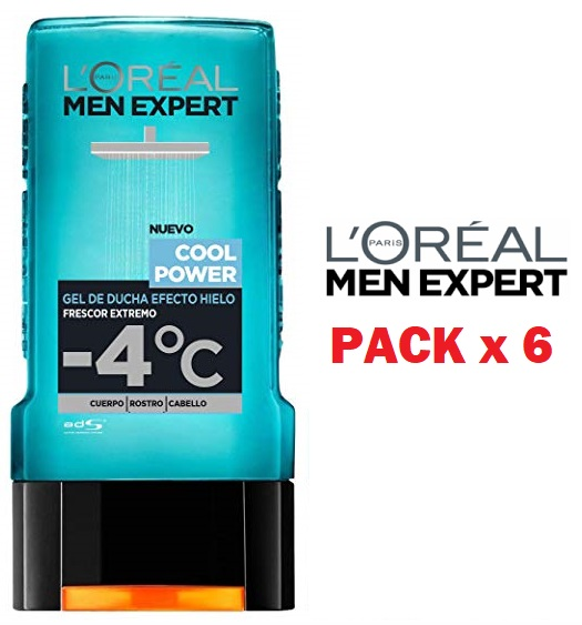 Pack de 6 L'Oreal Men Expert Gel de Ducha Efecto Hielo Cool Power