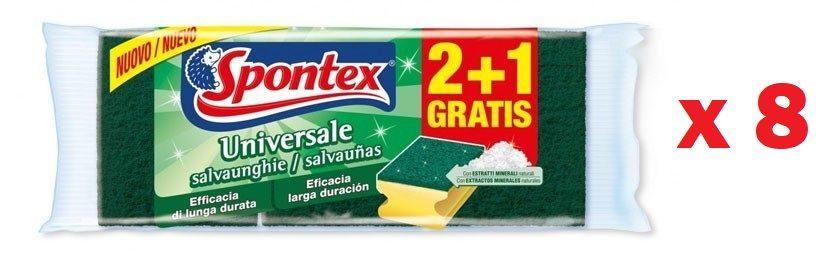 Pack de 8 Sets de 3 estropajos salvauñas Spontex Universale