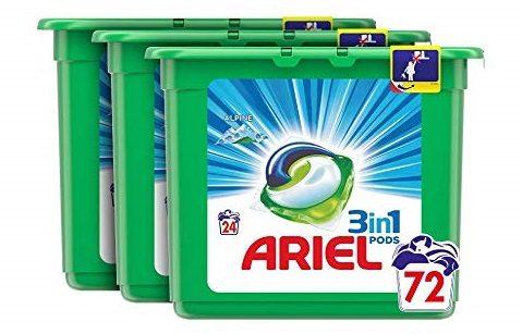 Ariel 3en1 Pods Detergente Cápsulas, Alpine, 72 Lavados (3x24)