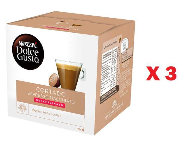 Pack de 3 Nescafé Dolce Gusto Café Cortado descafeinado
