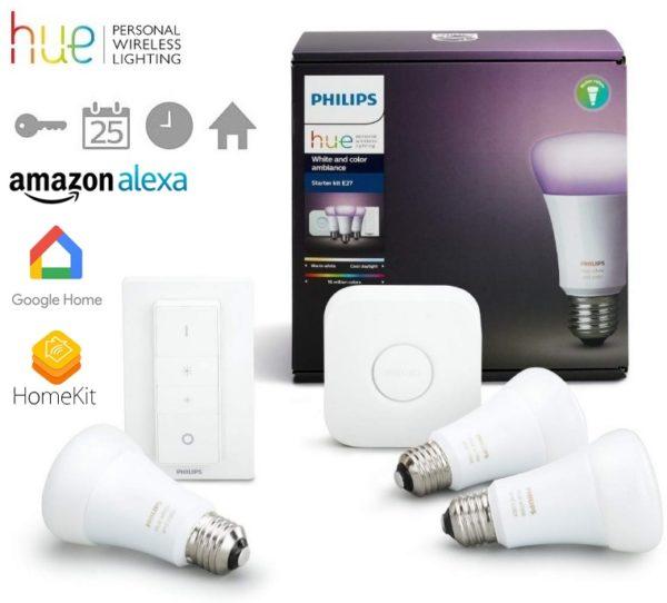 Philips Hue 3 bombillas + puente +mando