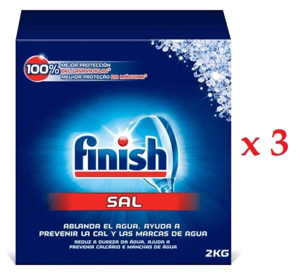 Finish Sal para Lavavajillas, 2 kg, paquete de 3