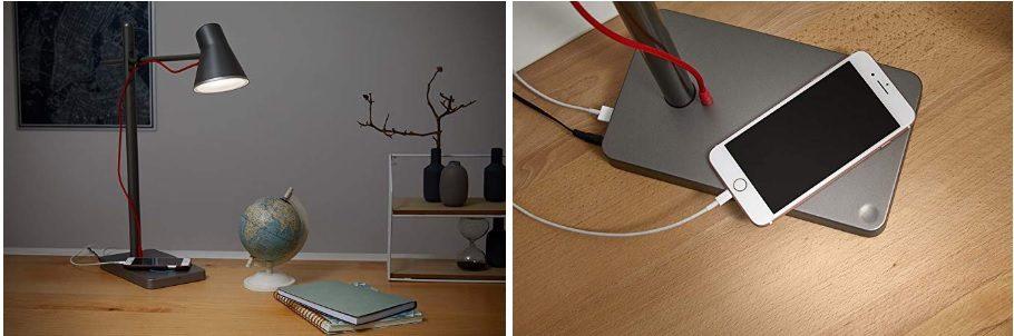 Lámpara de mesa OSRAM PANAN Alu USB Black