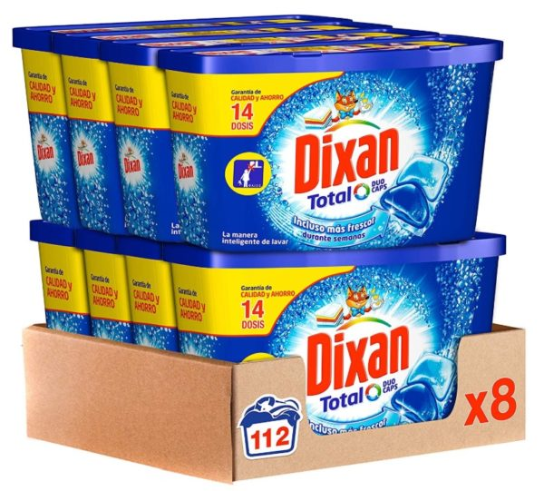 Detergente Duo Caps Dixan Total para 112 lavados