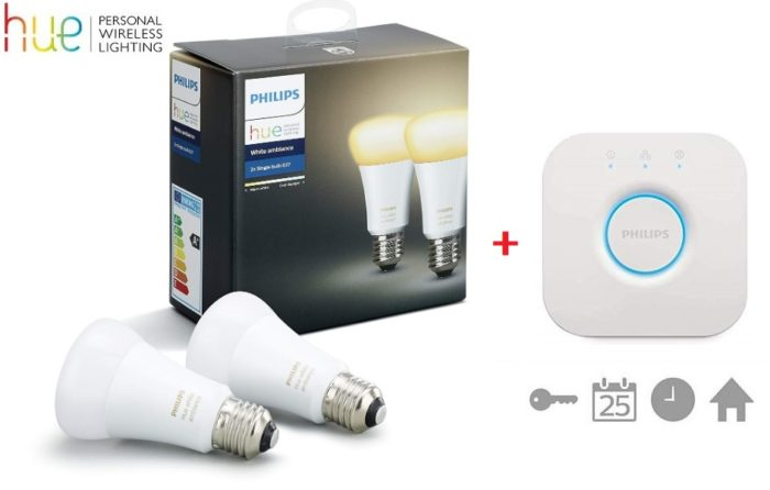 Kit de inicio Philips Hue White Ambiance con 2 bombillas E27 + Hue Bridge (puente)
