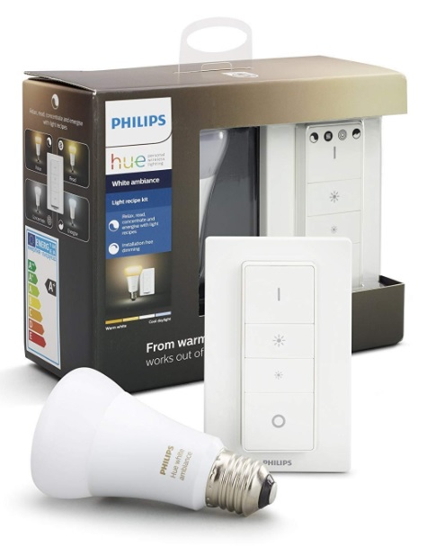 Pack Philips Hue White Ambiance con 1 bombilla LED E27 + Interruptor