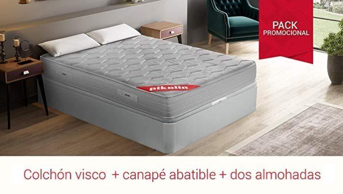 PIKOLIN Pack Colchón viscoelástico + canapé con Base abatible en Madera + Dos Almohadas de Fibra