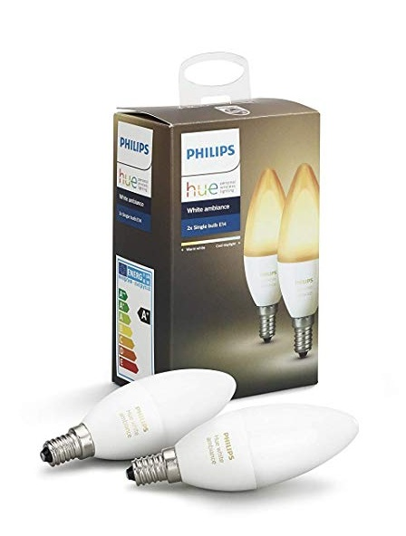 Pack Philips Hue White Ambiance con 2 bombilla LED E14 de 6W