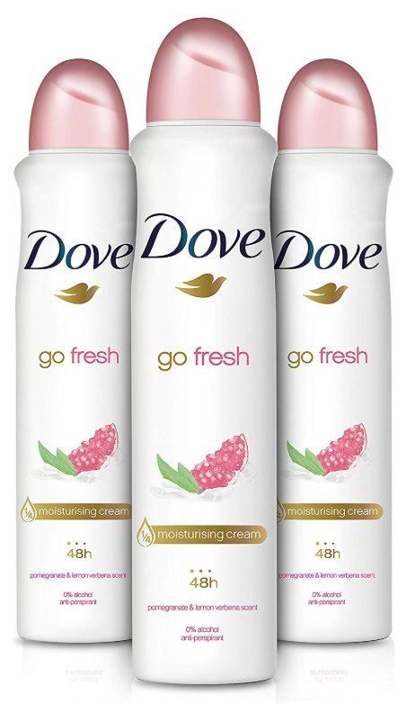 Pack x 3 Desodorante Dove Go Fresh con Granada y Hierba luisa