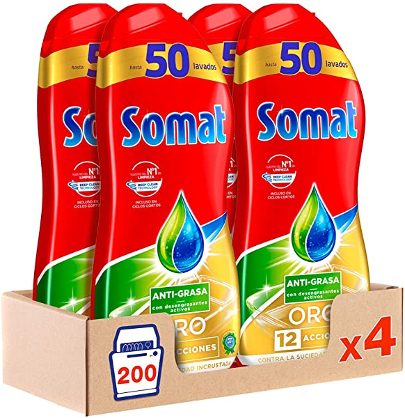 Pack de 4 Lavavajillas Somat ORO Gel Anti-Grasa para 50 lavados