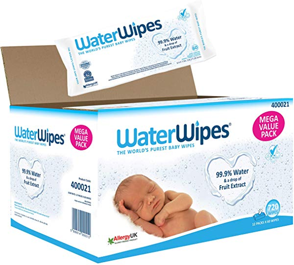 Pack 12 x 60 (720 unidades) Toallitas húmedas WaterWipes para bebé