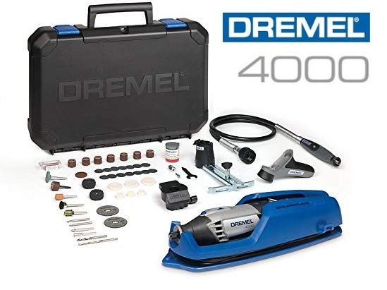 Multiherramienta Dremel 4000 con 65 accesorios + 4 complementos + maletin transporte