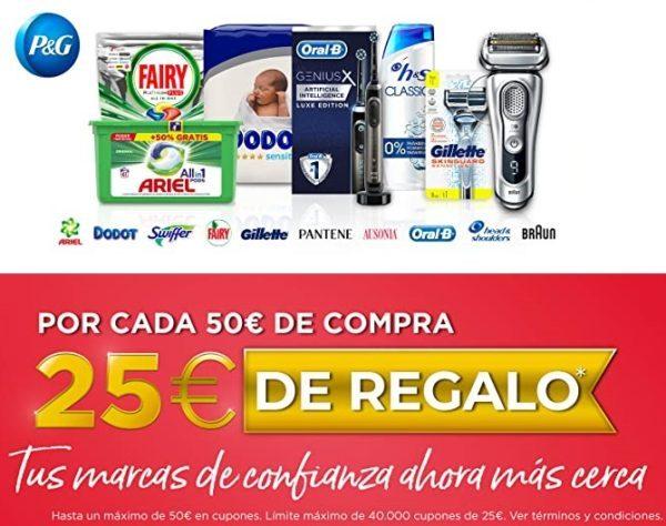Por cada 50€ de compra llevate 25€ de Regalo hasta un máximo de 50€
