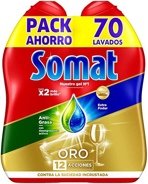 Pack de 2 Lavavajillas Somat ORO Gel Anti-Grasa