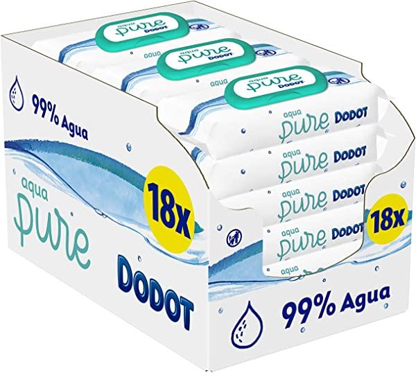Pack de 18 Toallitas Bebé Dodot Aqua Pure