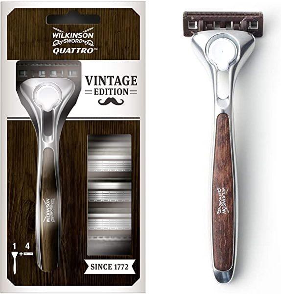 Maquinilla de afeitar Wilkinson Quattro Vintage Edition con 4 recambios