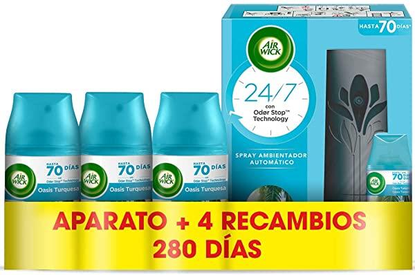 Pack de 4 recambios Air Wick Freshmatic Oasis Turquesa + difusor