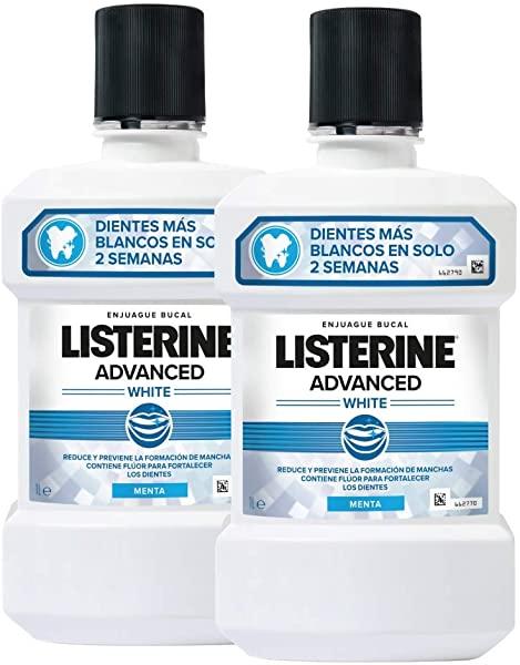 Listerine - Enjuague Bucal Blanqueador Avanzado, 2 x 1000 ml