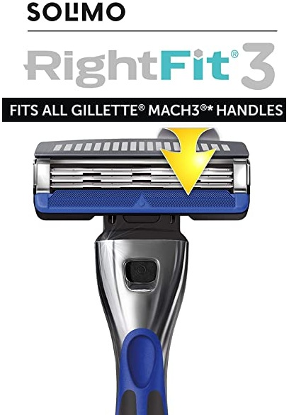 Pack 12 Recambios Solimo RightFit3 compatible con Gillette Mach3