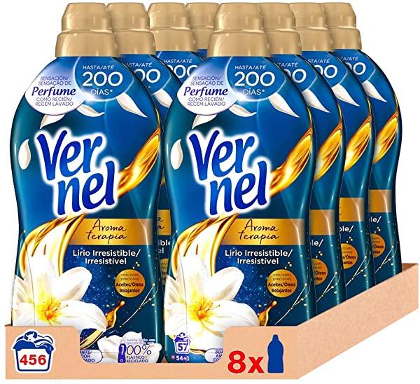 Pack de 8 Suavizante Vernel Aromaterapia Aceite de Jazmín y Lirio