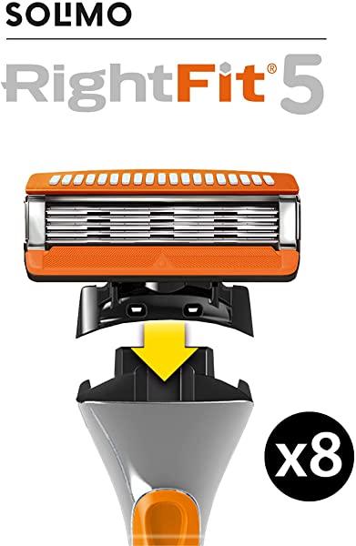 Pack 8 Recambios Solimo RightFit5 compatible con Gillette Fusion5