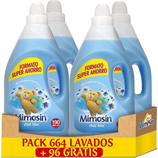 Mimosin Concentrado Suavizante Azul Vital 190 lavados x 4 botellas