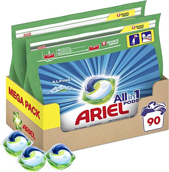 Pack Ariel 3en1 PODS Alpine detergente en cápsulas para 90 lavados