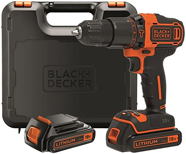 ¡Chollo! Taladro percutor Black and Decker 18V BDCHD18KB con maletín y 2 baterías