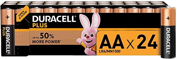 Packs de 24 pilas Alcalinas Duracell Plus AA