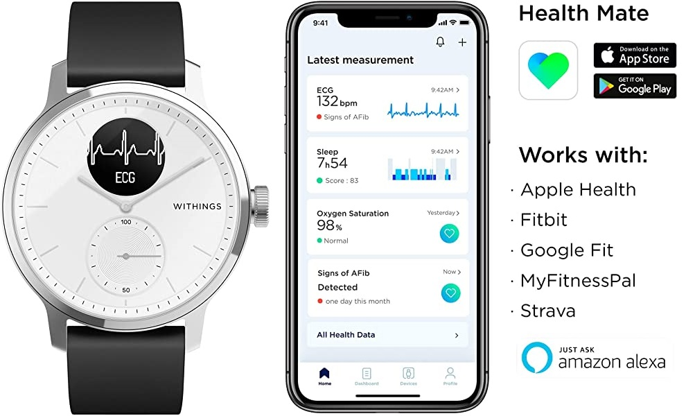Withings ScanWatch - Reloj inteligente híbrido