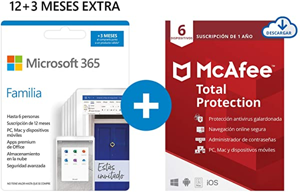 Pack Microsoft 365 Familia + McAfee Total Protection